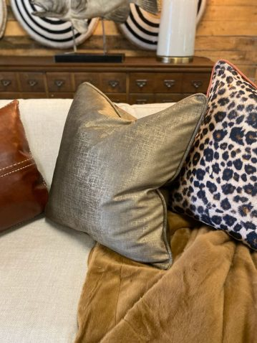 bronze velvet cushion wih gold detail