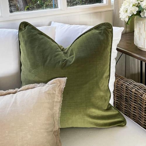 scatter cushion in green velvet