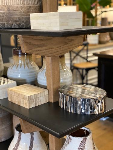 Block and chisel storage shelf in weathered oak and black matt