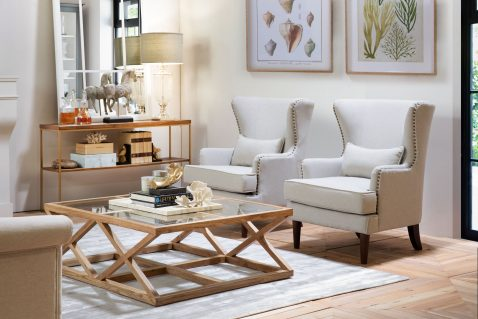 oak frame coffee table with glass inserts