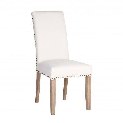 Chantel dining chair with high backrest and nail head trim in white fabric