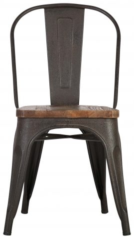 Block & Chisel metal dining chair with recycled elm wooden seat
