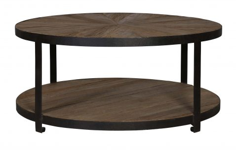 2 tier metal and wood coffee table