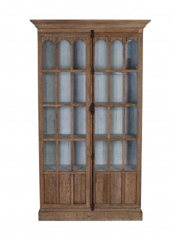 2 door display bookcase with glass front panels