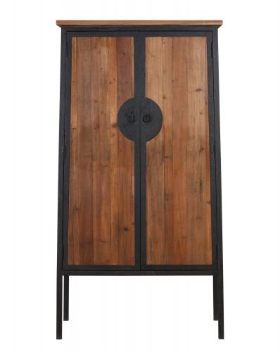 Wood and metal 2 door cabinet