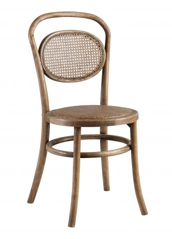 Oak dining chair with rattan back