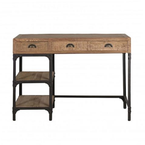 industrial style wood and metal desk