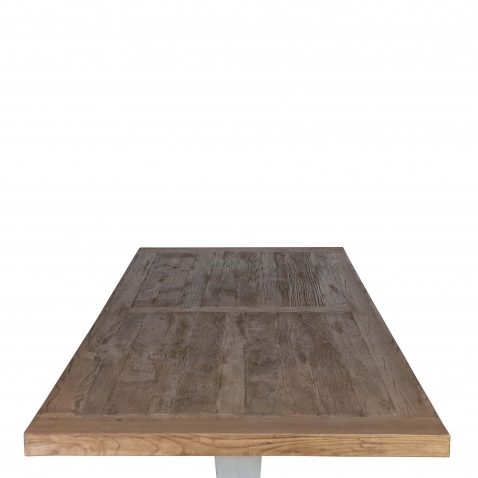 dining table with white base and old elm wood top