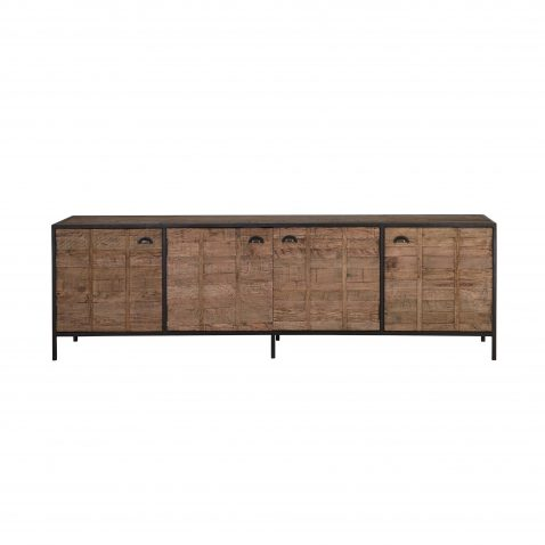 wood and metal 4 door sideboard