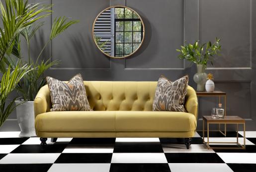 Yellow velvet bentley sofa
