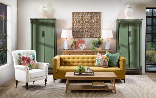 Gold velvet sofa with tufted backrest and high armsrests
