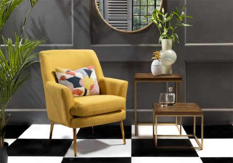 modern occasional chair in yellow with metal legs