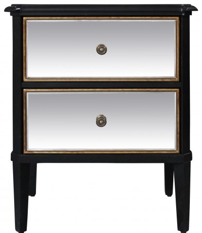 Block & Chisel mirrored 2 drawer bedside table