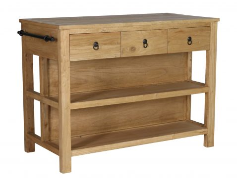 Leonard Sideboard with 3 drawers and two shelves with towel rail