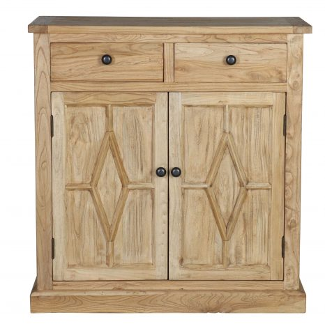Redmond Cabinet - rustic wooden reclaimed elm cabinet sideboard with 2 doors and 2 storage drawers.