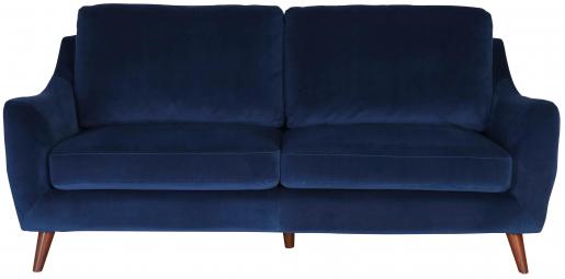 Block & Chisel navy blue velvet upholstered 3 seater sofa