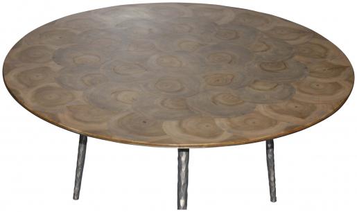 Block & Chisel round teak slice top side table with 3 metal legs