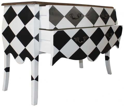 Block & Chisel black and white checkered printed wooden drawer chest