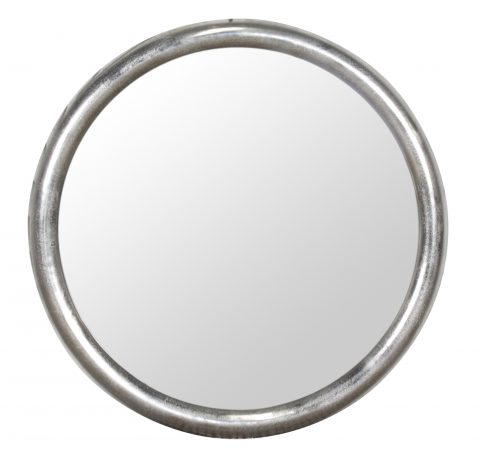 Block & Chisel round raw nickel frame mirror