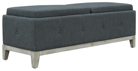 Block & Chisel charcoal upholstered bed end with oak wood legs