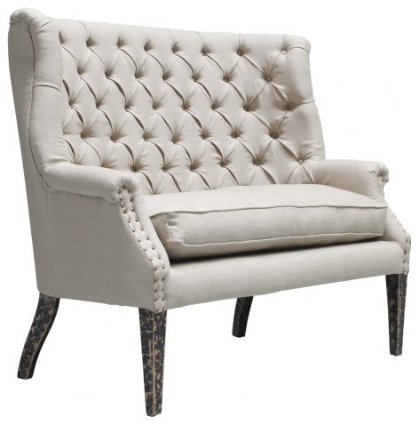 Block & Chisel cream linen upholstered button tufted loveseat with stud detailing