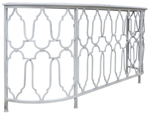 Block & Chisel iron console with antique white finish