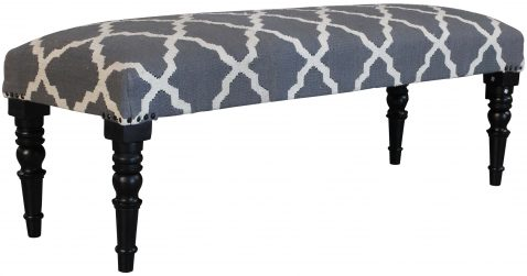 Block & Chisel grey and white print upholstered bench