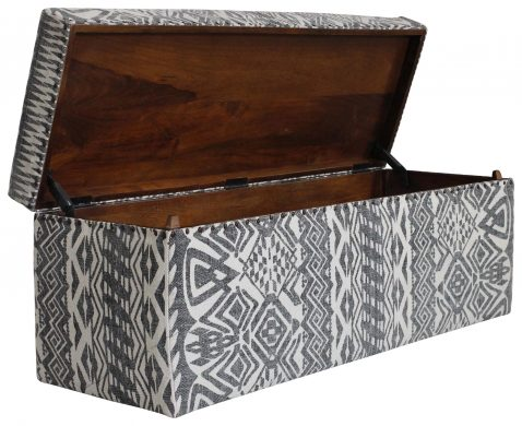 Block & Chisel rectangular grey and black print cotton upholstered trunk