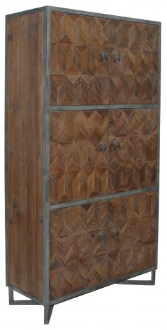Block & Chisel 6 door recycled pine cabinet with iron frame