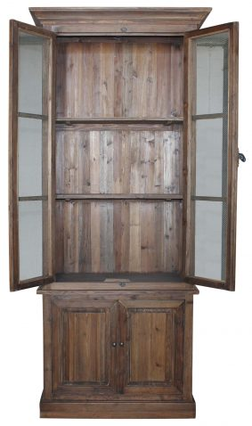 Block & Chisel recycled pine bookcase with chicken mesh doors
