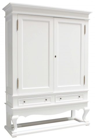 Block & Chisel solid weathered oak drinks cabinet with white lacquer