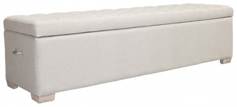 Block & Chisel oatmeal upholstered button tufted bed end