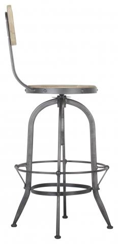 Block & Chisel metal barstool with reclaimed pine top