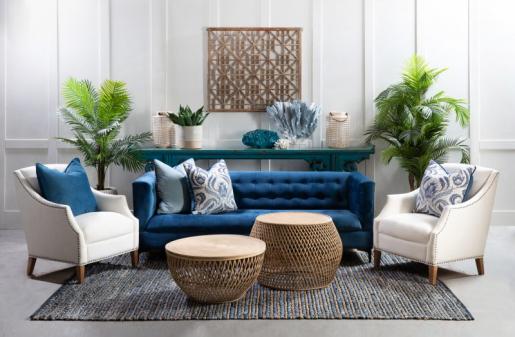 Block & Chisel navy blue velvet 3 seater sofa