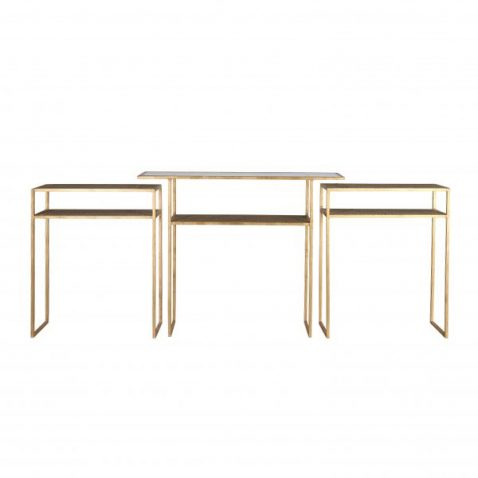 Set of 3 consoles, gold metal frame