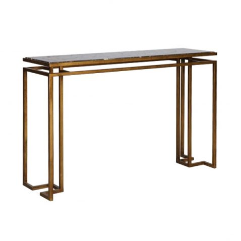 Caraway Console - Gold frame and black marble top