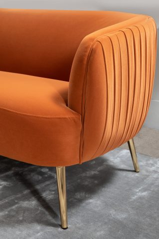 Modena 3 seater sofa in orange with ribbed backing