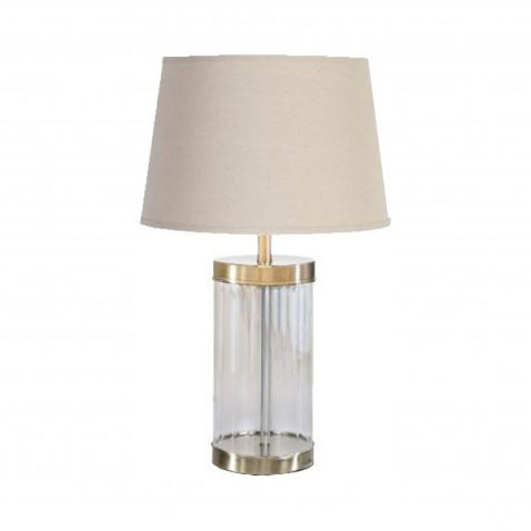 Glass cylinder base and gold trim lamp with cream lampshade