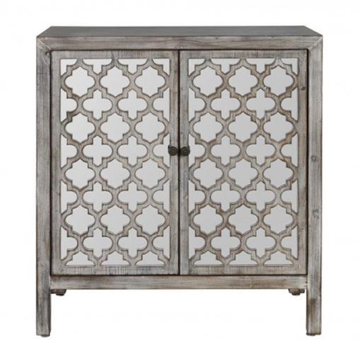 Iris Cabinet with mirrored geometric doors and black handles