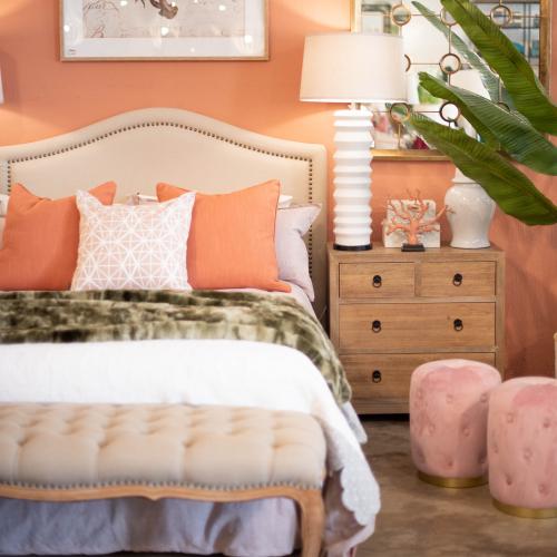 Block & Chisel beige upholstered queen size headboard