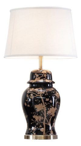 Oriental black vase with gold plant detail, ginger jar style base with white lampshade