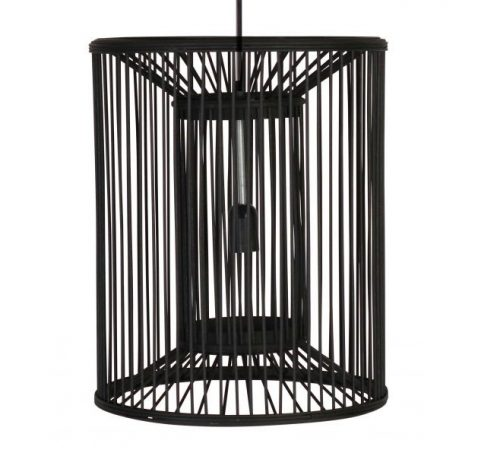 Margaret Bamboo Chandelier - Bamboo black cylindrical cage chandelier