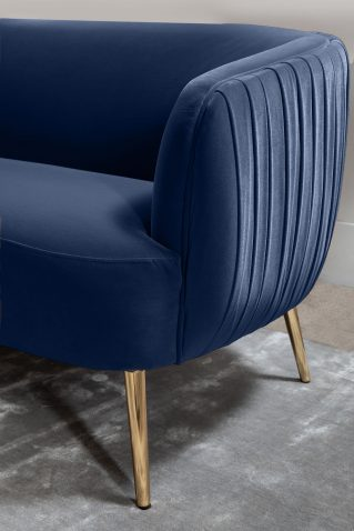 Modena 3 seater sofa in blue with ribbed backing