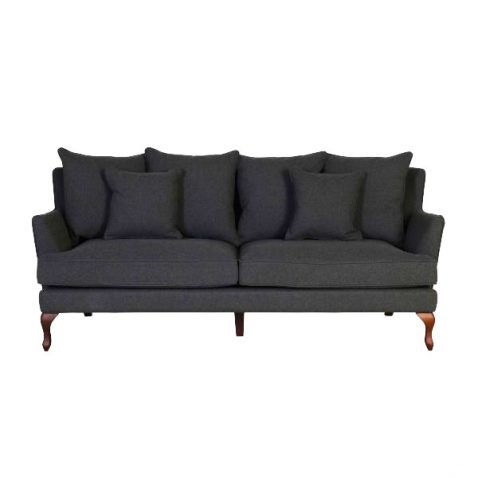 3 seater fully upholstered sofa in charcoal fabric with loose back cushions on queen anne wooden legs.