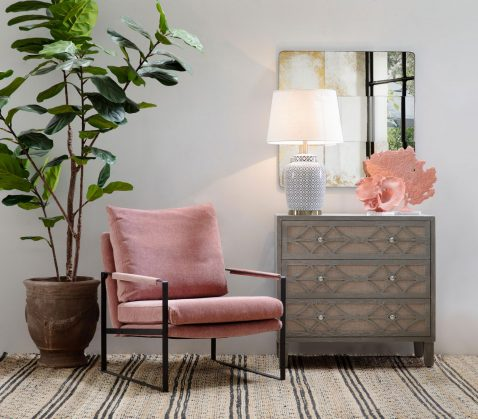 Block & Chisel pink upholstered occasional chair