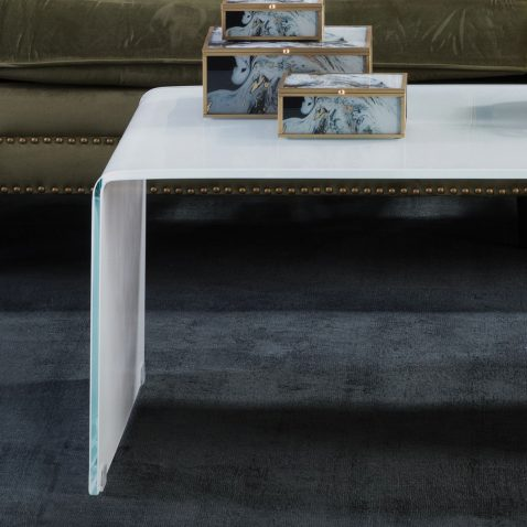 Block & Chisel rectangular white tempered glass coffee table