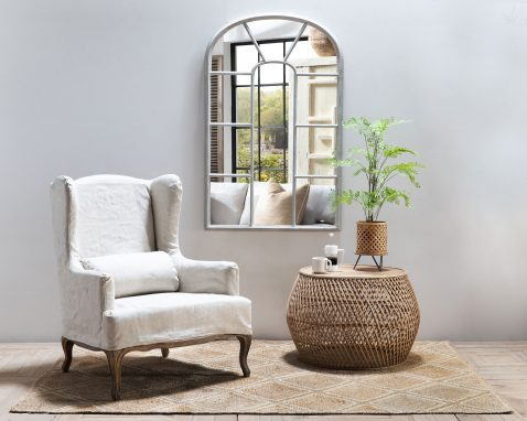 Bailer Cathedral Mirror with silver frames