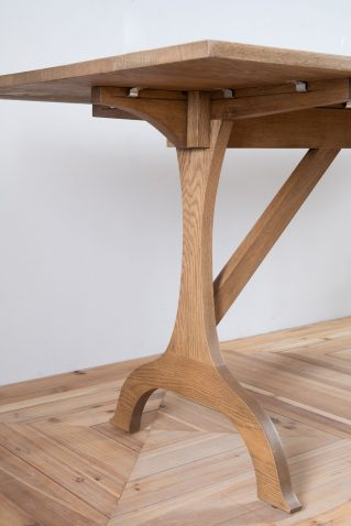 block and chisel whittaker trestle dining table in old oak
