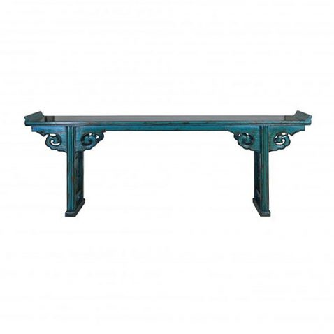 Block & Chisel decorative blue distressed asian console