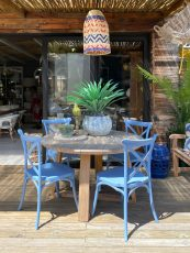 Blue pvc outdoor cross back chairs